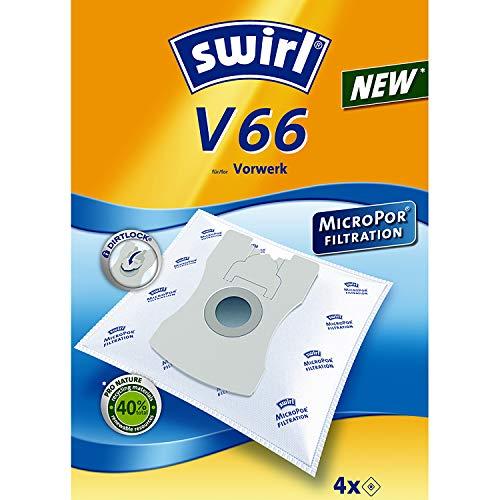 Swirl V66 Staubsaugerbeutel (für Vorwerk Staubsauger, stabil und saugstark, verschließbare Halteplatte, 4 Beutel)