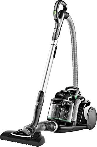 AEG LX8-2-ÖKOX Staubsauger ohne Beutel (65% Recyclingmaterial, inkl. Zusatzdüsen, stufenlose Leistungsregulierung, 600 Watt, 12 m Aktionsradius, 1,6 l Staubbehälter, Allergy Filter, schwarz/grün)