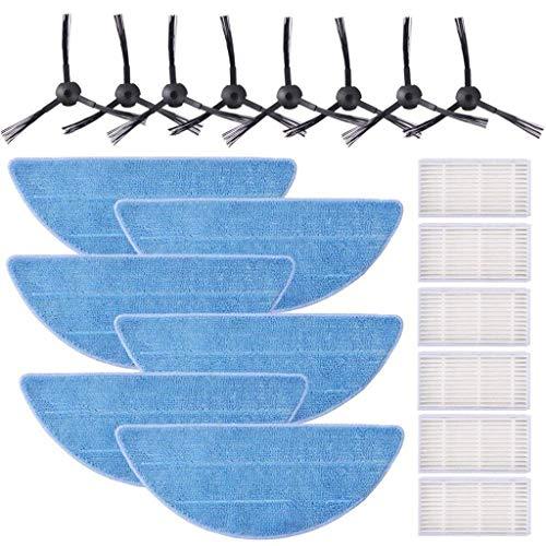 HSKB Ersatzteile Kit, Ersatzteil Zubehör für ILife V5 V5s V5s Pro V3s Pro V3s Serie, Kehrmaschine, Wischfunktion 6 Tuch 8 Seitenbürste 6 Filter