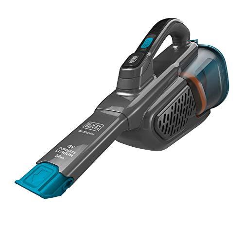 Black+Decker Lithium Dustbuster BHHV320B mit Cyclonic Action - 12V, 25AW, Akku Handstaubsauger mit ausziehbarer Fugendüse & Ladestation - Beutelloser, kabelloser Staubsauger - Titanium/Blau