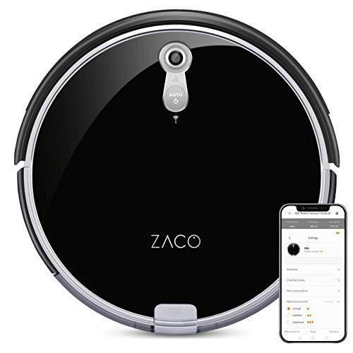 ZACO A8s Saugroboter mit Wischfunktion, App & Alexa Steuerung, 7,2cm flach, automatischer Staubsauger Roboter, 2in1 Wischen oder Staubsaugen, für Hartböden, Fallschutz, mit Ladestation