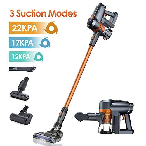 Akku Staubsauger, 22kPa Kabelloser Staubsauger, 40 Min Laufzeit, LED-Bürsten, 3 Saugstufen, Ideal für Hartboden Teppich Homtiky(Orange)